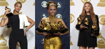 """This combination of photos shows Beyonce posing backstage with the award for best traditional R&B performance for """"Love on Top"""" at the 55th annual Grammy Awards in Los Angeles on Feb. 10, 2013, from left, holding her awards at the 46th Annual Grammy Awards in Los Angeles on Feb. 8, 2004 and holding the awards for best R&B performance for """"Drunk in Love"""", best surround sound album for """"Beyonce"""", and best R&B song for """"Drunk in Love"""" at the 57th annual Grammy Awards in Los Angeles on Feb. 8, 2015. The Grammy Awards are in discussion to remove its nomination review committees — the group that determines the contenders for key awards at the coveted music show. (AP Photo)"""