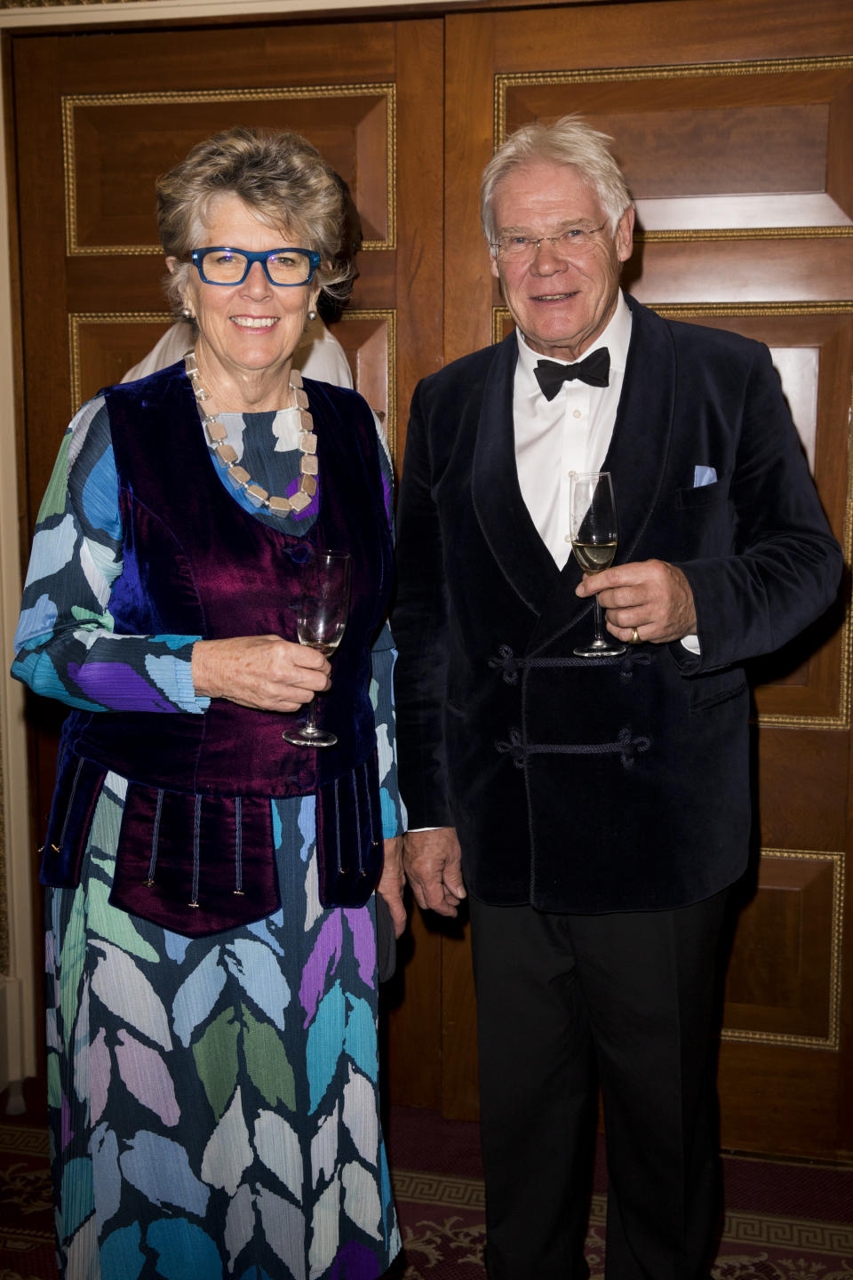 Prue Leith with her husband John Playfair as they attend a reception to mark The National Literacy Trust's 25th anniversary at Plaisterers' Hall on March 21, 2018 in London, England.  (Photo by Tristan Fewings - WPA Pool/Getty Images)