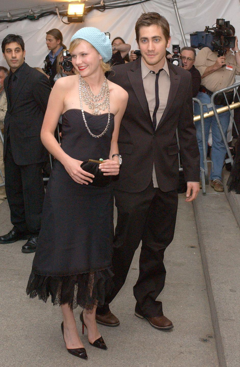 <p>Though she was slightly on the casual side, Kirsten wasn't afraid to break the fashion rules at the Met Gala in 2003 with her light blue beret. Just in case a cold chill comes through guys!!</p>