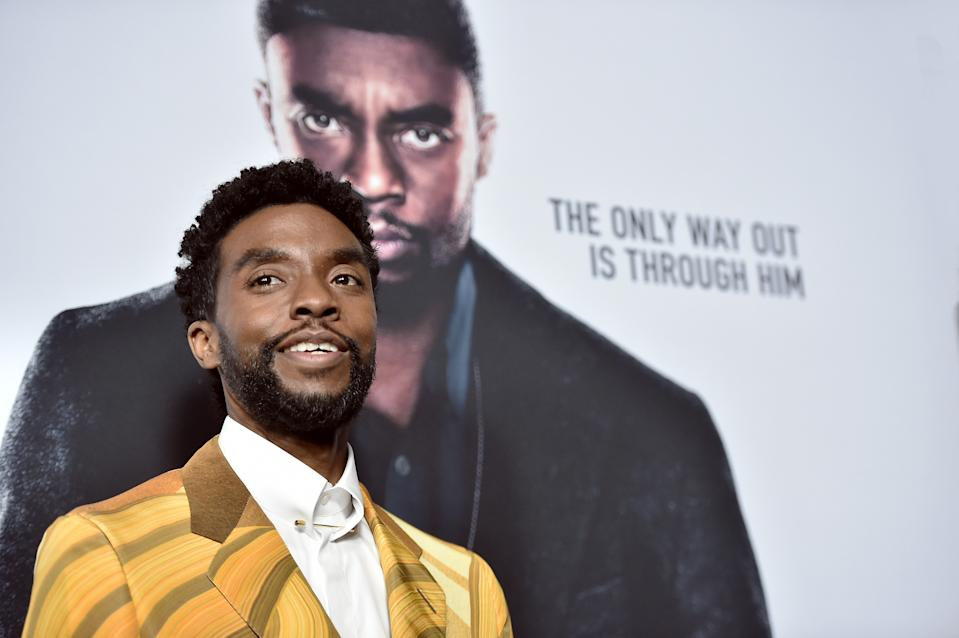 "Chadwick Boseman attends ""21 Bridges"" New York Screening on November 19, 2019. (Photo by Steven Ferdman/WireImage)"