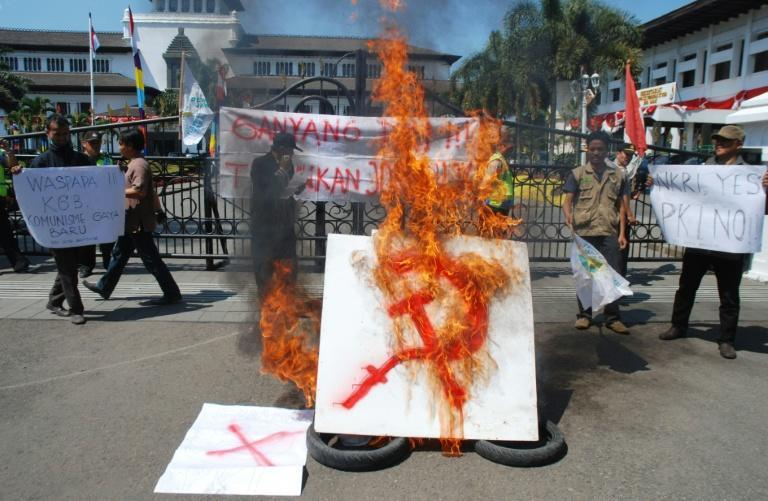 An anti-communism group holds a rally in Bandung, West Java province, Indonesia on August 21, 2015