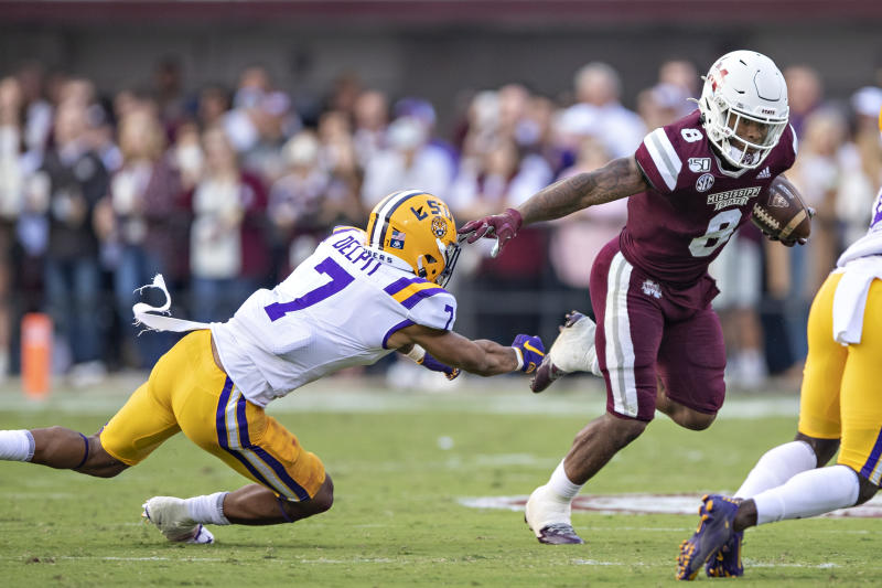 Can Mississippi State and RB Kylin Hill finish the season with a winning record? (Photo by Wesley Hitt/Getty Images)