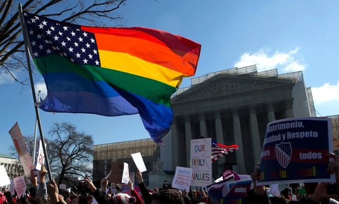 As protesters rally outside the Supreme Court, justices debate one of the biggest social issues of our time.