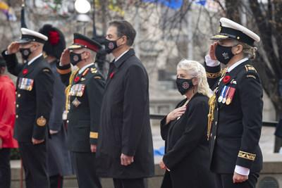 Julie Payette, Governor General and Commander-in-Chief of Canada, took part in the Remembrance Day Ceremony at the National War Memorial in Ottawa, on Wednesday, November 11, 2020. Photo: Sgt Johanie Maheu, Rideau Hall © OSGG, 2020 (CNW Group/Governor General of Canada)