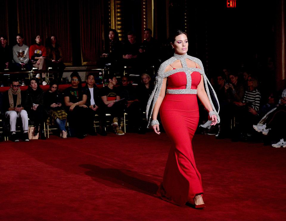 Ashley Graham walks the runway at Christian Siriano's show during New York Fashion Week 2018. (Photo: Getty Images)
