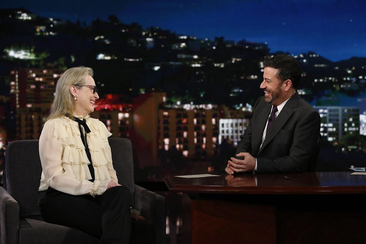 """<p>One of the best things about Streep is the joy and amusement she exudes wherever she is. During an interview on <em><a href=""""https://www.youtube.com/watch?v=0RxhuBwCwMs"""" target=""""_blank"""">Jimmy Kimmel Live</a></em> in January 2018, Kimmel decided to test Streep on her own knowledge about her Oscars awards history. Streep, unfortunately, """"failed"""" the test, but it was hilarious to watch her squirm a bit.</p>"""