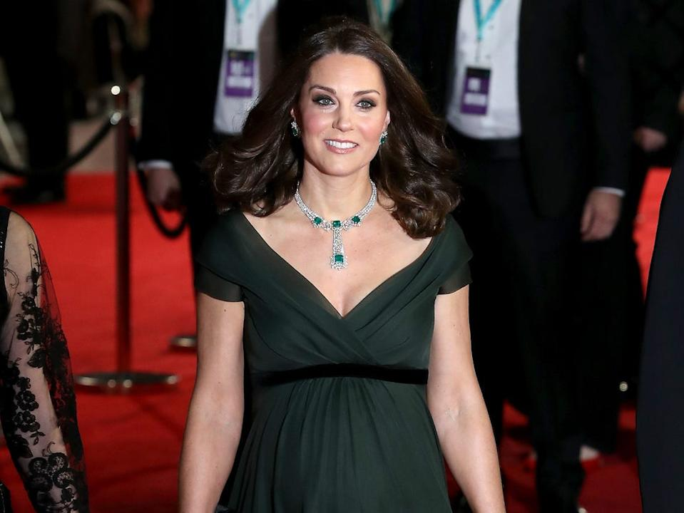 kate middleton baftas february 2018 jenny packham dress