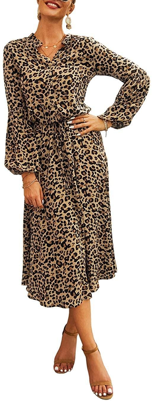 <p>Customers rave about this <span>KIRUNDO Midi Leopard Dress</span> ($23-$28).</p>