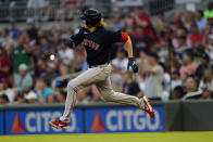 Boston Red Sox starting pitcher Garrett Richards runs to second base after driving in a run with a double in the fourth inning of a baseball game against the Atlanta Braves Wednesday, June 16, 2021, in Atlanta. (AP Photo/John Bazemore)