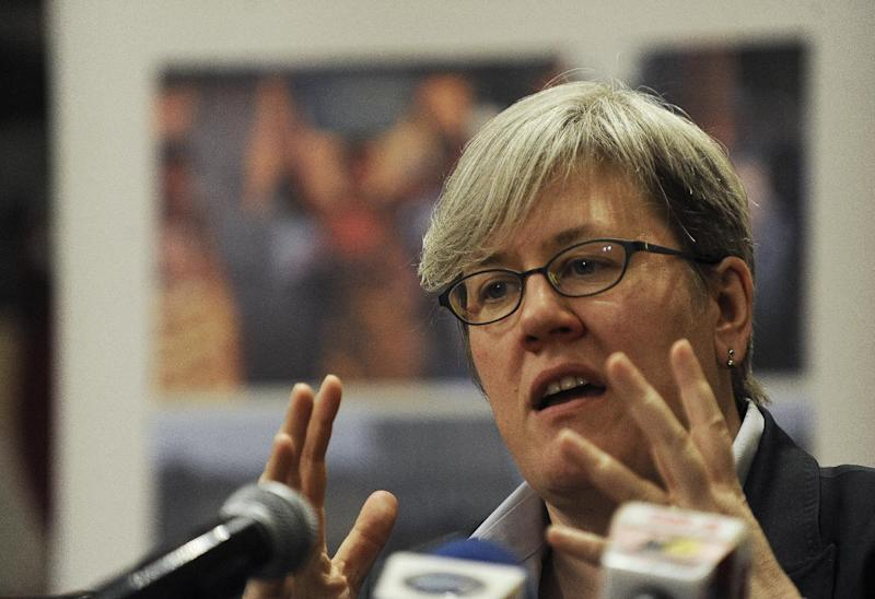 World Bank special envoy for climate change Rachel Kyte, pictured during a press conference in Nairobi, on February 3, 2012 (AFP Photo/Tony Karumba)