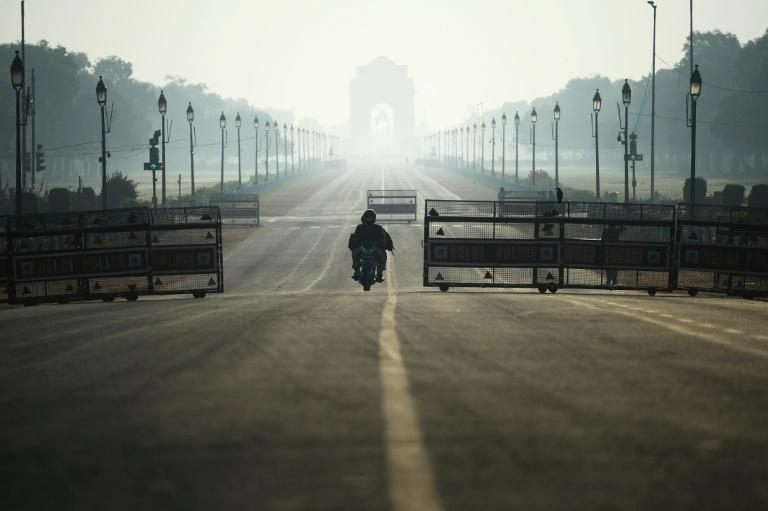 Normally bustling streets in the capital New Delhi were mostly deserted for the curfew