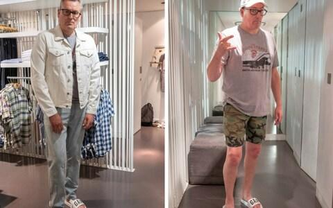 Summer shopping in gap: Tim tries double denim (left), and a vintage tee with cargo shorts and pool sides - Credit: Heathcliffe O'Malley