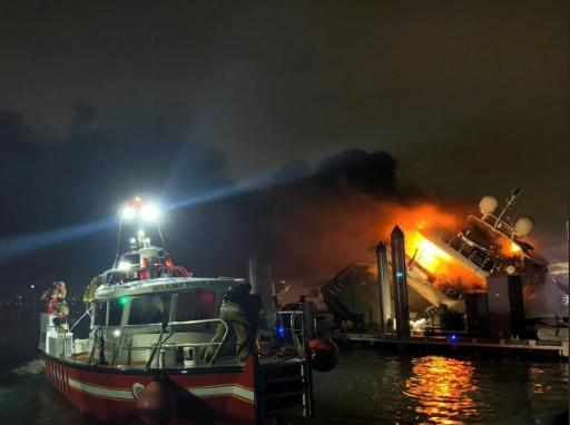Miami firefighters struggled for two hours to douse the flames that destroyed a luxury yacht belonging to Latin singer Marc Anthony