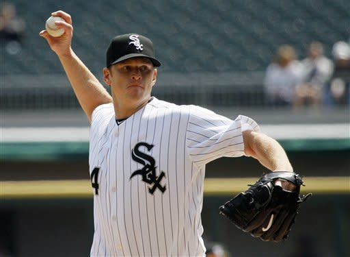 Chicago White Sox starting pitcher Gavin Floyd delivers during the first inning of a baseball game against the Baltimore Orioles, Thursday, April 19, 2012, in Chicago. (AP Photo/Charles Rex Arbogast)
