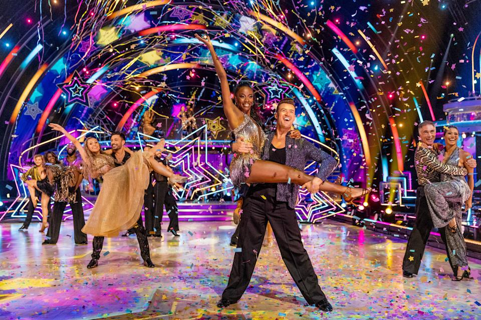 Programme Name: Strictly Come Dancing 2021 - TX: 18/09/2021 - Episode: Strictly Come Dancing - Launch Show (No. n/a) - Picture Shows:  The Strictly Come Dancing 2021 Celebrities and Professional Dancers - (C) BBC - Photographer: Guy Levy