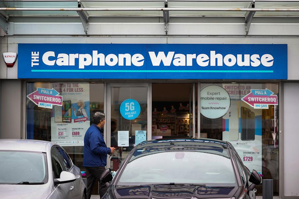 A Carphone Warehouse store on Boucher Road in Belfast, as nearly 3,000 jobs are being axed at Dixons Carphone after the retailer announced plans to shut all 531 of it???s standalone Carphone Warehouse mobile phone stores in the UK. (Photo by Liam McBurney/PA Images via Getty Images)