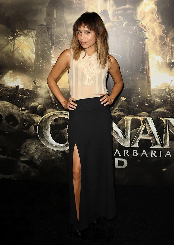 "<a href=""http://movies.yahoo.com/movie/contributor/1809753401"">Zoe Kravitz</a> at the Los Angeles premiere of <a href=""http://movies.yahoo.com/movie/1809953260/info"">Conan the Barbarian</a> on August 11, 2011."
