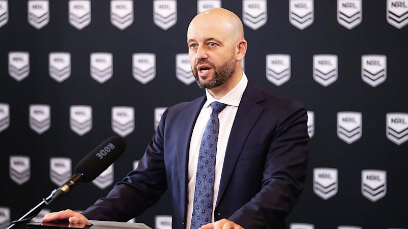 Seen here, NRL CEO Todd Greenberg discussing the impact of coronavirus on the competition.