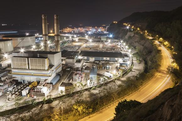 A power-generating station at night.