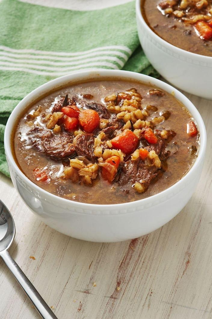 """<p>Great for using up any leftover prime rib.</p><p>Get the recipe from <a href=""""https://www.delish.com/cooking/recipe-ideas/a30272364/prime-rib-soup-recipe/"""" rel=""""nofollow noopener"""" target=""""_blank"""" data-ylk=""""slk:Delish"""" class=""""link rapid-noclick-resp"""">Delish</a>.</p>"""