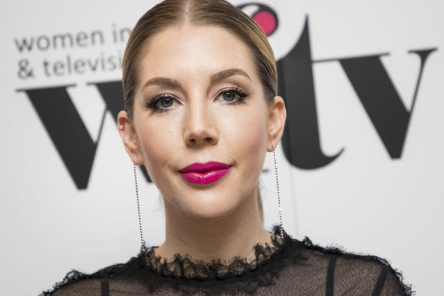 Katherine Ryan poses for photographers upon arrival at the Women in Film and TV Awards, in London, Friday, Dec. 7, 2018. (Vianney Le Caer/Invision/AP)