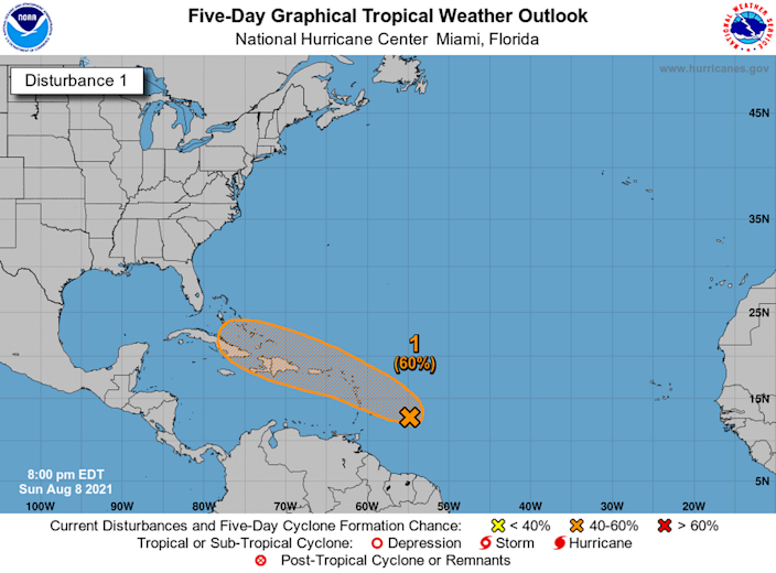 Disturbance 1 was located 400 miles east-southeast of the Leeward Islands as of the National Hurricane Center's 8 p.m. advisory.