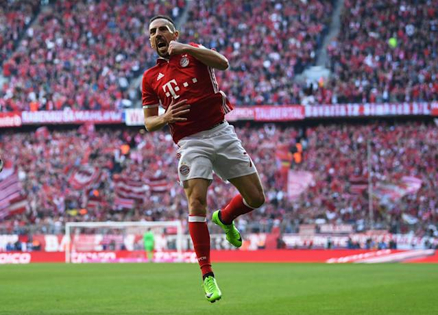MUNICH, GERMANY - APRIL 08: Franck Ribrry of Bayern Muenchen celebrates scoring his sides first goal during the Bundesliga match between Bayern Muenchen and Borussia Dortmund at Allianz Arena on April 8, 2017 in Munich, Germany. (Photo by Matthias Hangst/Bongarts/Getty Images)