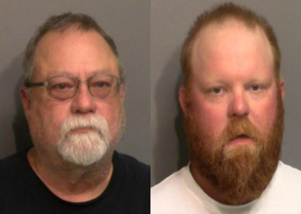 Gregory (left) and Travis (right) McMichael were charged with murder two months after Mr Arbery's death. Source: Glynn County Police Department