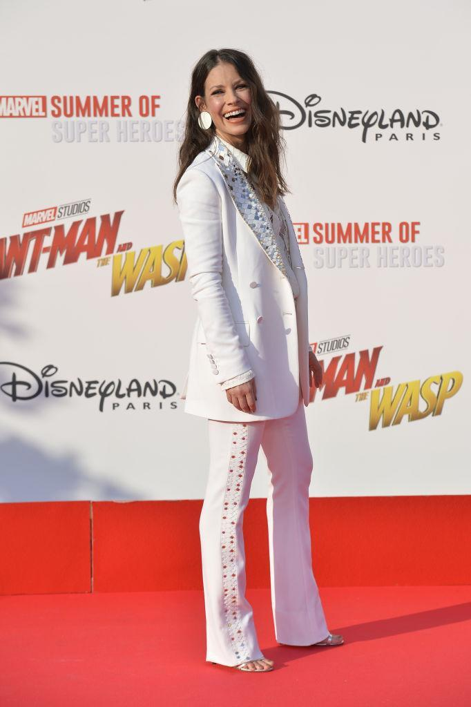 <p>On 14 July, Evangeline Lilly graced the red carpet in a bejewelled suit for the European premiere of 'Ant-Man and the Wasp' [Photo: Getty] </p>