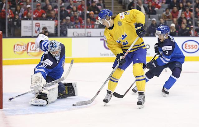 William Nylander was denied twice on breakaways, but Sweden won going away against Finland on Friday. (Photo by Claus Andersen/Getty Images)