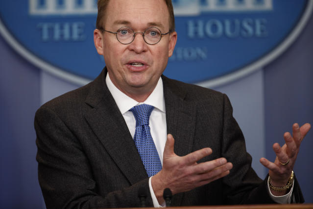 Director of the Office of Management and Budget Mick Mulvaney speaks during a briefing on a possible government shutdown at the White House, Friday, Jan. 19, 2018. (AP Photo/Evan Vucci)