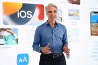 Apple's senior vice president of Software Engineering Craig Federighi introduces iOS 15 during Apple's Worldwide Developers Conference