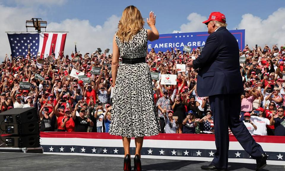Melania Trump joins her husband at his campaign rally outside Raymond James Stadium, in Tampa, Florida, on Thursday.
