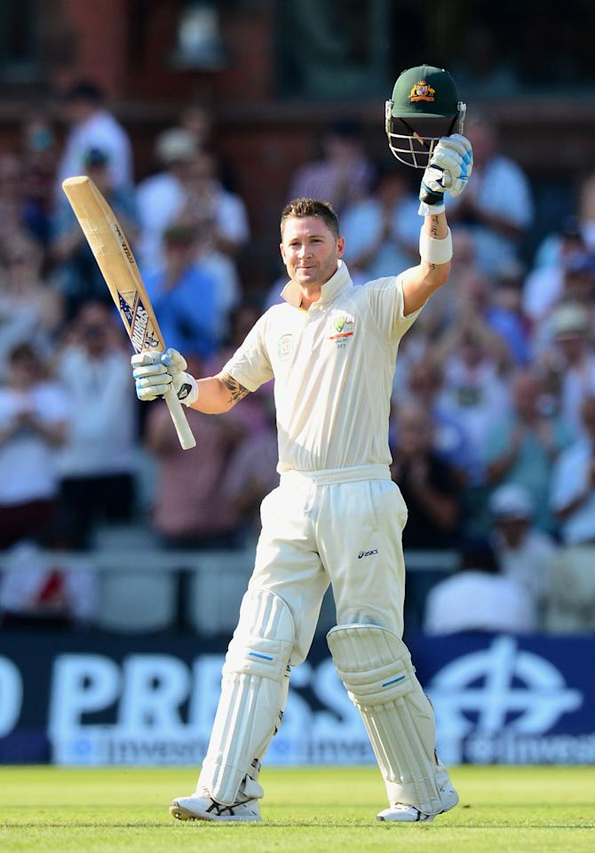 Australia's Michael Clarke celebrates making his century against England, during day one of the Third Investec Ashes test match at Old Trafford Cricket Ground, Manchester.