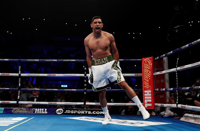 Boxing - Amir Khan v Phil Lo Greco - Echo Arena, Liverpool, Britain - April 21, 2018 Amir Khan celebrates winning the fight Action Images via Reuters/Andrew Couldridge