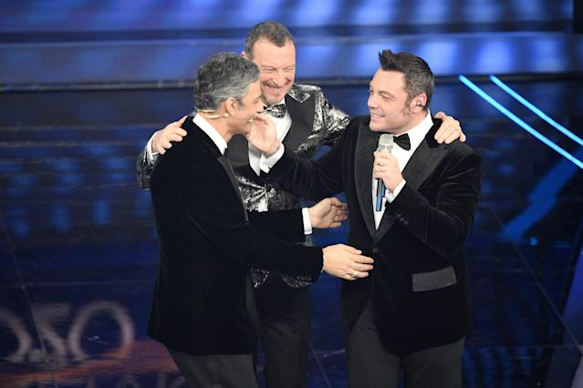 Rosario Fiorello, Amadeus e Tiziano Ferro (Photo by Daniele Venturelli/Daniele Venturelli/Getty Images )