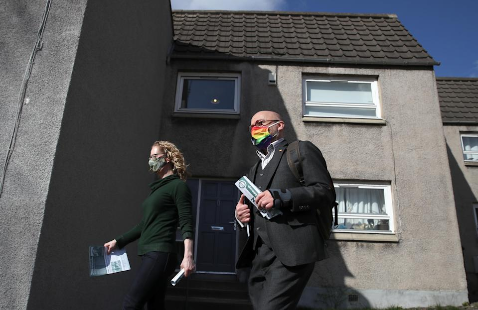 Scottish Green Party co-leaders Patrick Harvie and Lorna Slater are campaigning to win more seats at Holyrood (Andrew Milligan/PA)