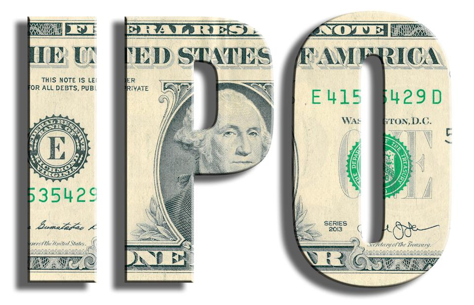 IPO - Initial Public Offering - moment when company has debut on stock exchange market. US Dollar texture. 3D illustration.