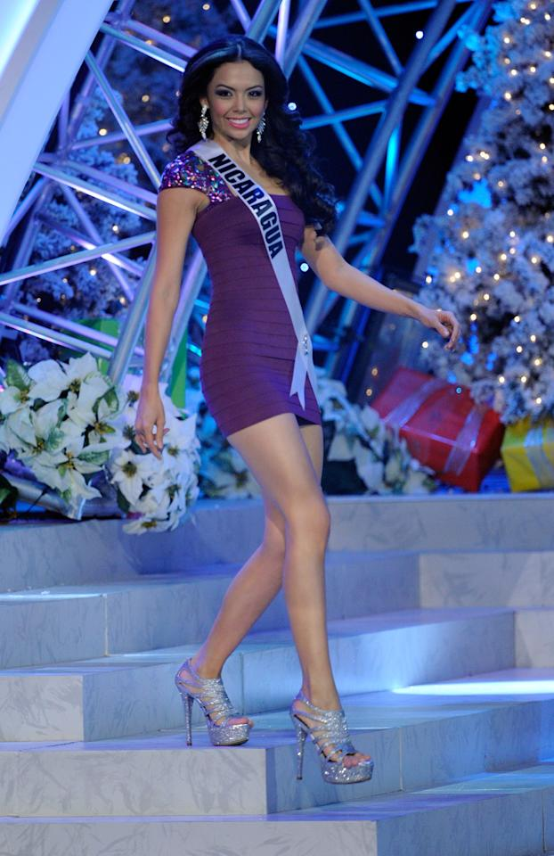 LAS VEGAS, NV - DECEMBER 19:  Miss Nicaragua 2012, Farah Elaquit Cano, is introduced during the 2012 Miss Universe Pageant at PH Live at Planet Hollywood Resort & Casino on December 19, 2012 in Las Vegas, Nevada.  (Photo by David Becker/Getty Images)