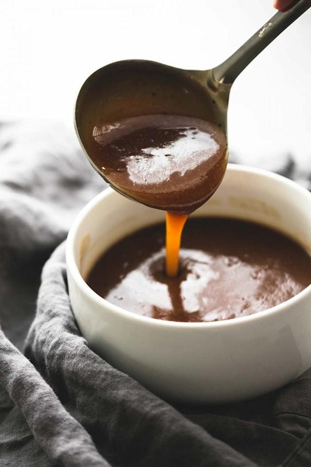 """<p>Forget store-bought gravy and make your own version this year. Besides being ridiculously easy to make, <a href=""""http://www.lecremedelacrumb.com/beef-broth-brown-gravy/"""" target=""""_blank"""" class=""""ga-track"""" data-ga-category=""""Related"""" data-ga-label=""""http://www.lecremedelacrumb.com/beef-broth-brown-gravy/"""" data-ga-action=""""In-Line Links"""">this dish</a> is also loaded with smoky and savory flavors, making it the perfect accompaniment to other dishes you're serving for Thanksgiving.</p>"""