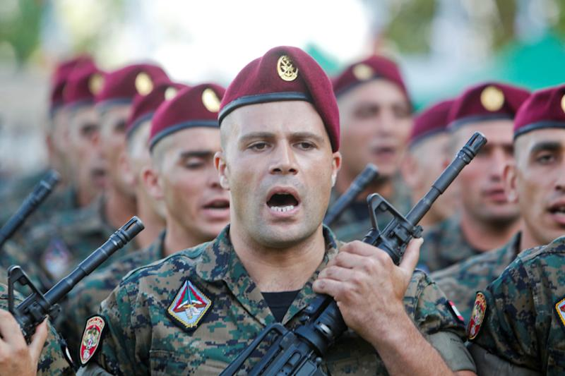Lebanese army soldiers take part in a parade at a military academy marking the 72nd Army Day in Fayadyeh, near Beirut, August 1, 2017. REUTERS/ Aziz Taher