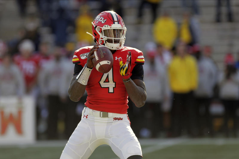 FILE - In this Nov. 2, 2019, file photo, Maryland quarterback Lance LeGendre looks to pass against Michigan during the second half of an NCAA college football game, in College Park, Md. Nebraska plays at Maryland on Saturday, Nov. 23. Maryland will shuffle two, maybe three quarterbacks, on Saturday. Josh Jackson and Tyrrell Pigrome get most of the snaps, but Locksley said he also installed a package for highly touted freshman Lance LeGendre. (AP Photo/Julio Cortez, File)