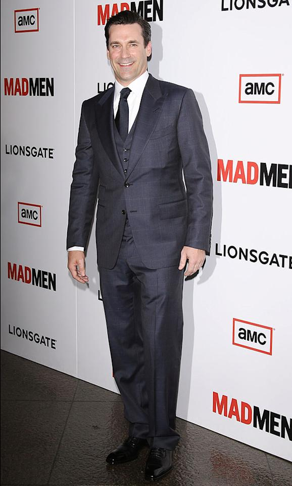 "Jon Hamm arrives at the Premiere of AMC's ""Mad Men"" Season 6 at DGA Theater on March 20, 2013 in Los Angeles, California."