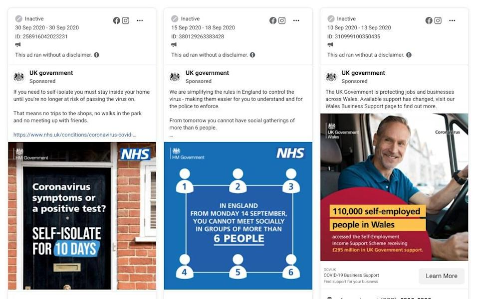 """Three ads sit side by side in Facebook's ad library, showing, from left to right: 1) a picture of a residential doorstep and an instruction to """"SELF-ISOLATE FOR 10 DAYS"""" if the reader has symptoms or a positive test; 2) a diagram of six human figures illustrating the """"rule of six""""; 3) a smiling commercial driver in a van cabin with an invitation to apply to the Government's self-employment income support scheme - Facebook Ad Library/HM Government"""