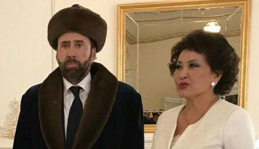 Cage... is obviously in Kazakhstan in full national dress - Credit: Twitter