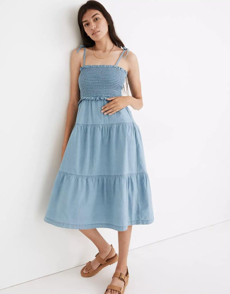 <p>Simply throw on this chic <span>Madewell Denim Lucie Tie-Strap Smocked Midi Dress</span> ($118), and you're ready for the day.</p>