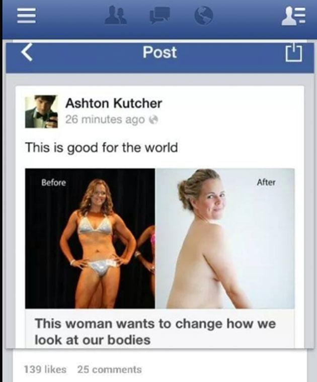 Taryn had the support of celebs such as Ashton Kutcher when she posted her before and after pics in 2012. Photo: Twitter