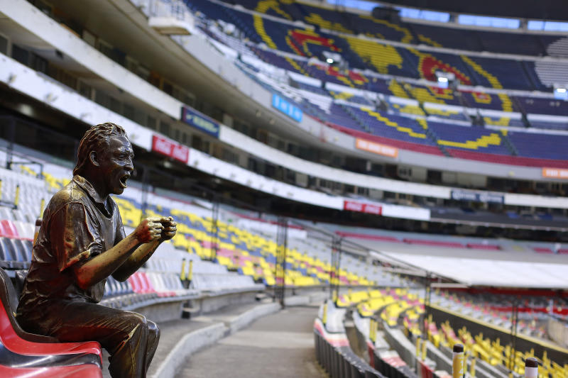 MEXICO CITY, MEXICO - MARCH 15: Empty seats prior to the 10th round match between America and Cruz Azul as part of the Torneo Clausura 2020 Liga MX at Azteca Stadium on March 15, 2020 in Mexico City, Mexico. The match is played behind closed doors to prevent the spread of the novel Coronavirus (COVID-19). (Photo by Mauricio Salas/Jam Media/Getty Images)