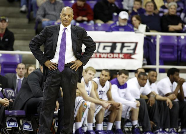 TCU head coach Trent Johnson watches the action in the second half of an NCAA college basketball game against Oklahoma Saturday, March 8, 2014, in Fort Worth, Texas. TCU went 0-18 this season with Oklahoma winning 97-67. (AP Photo/Sharon Ellman)