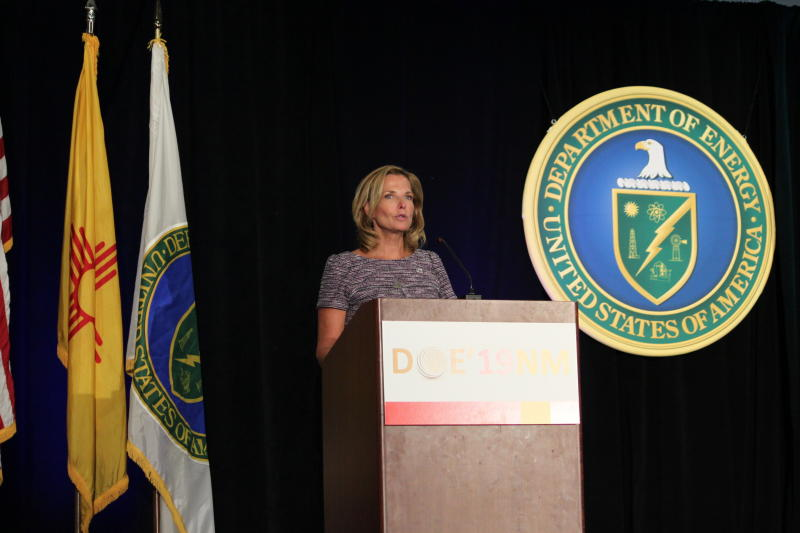 National Nuclear Security Administration administrator Lisa Gordon-Hagerty talks about her agency's work to reduce global nuclear threats during a business conference in Albuquerque, New Mexico, on Tuesday, Aug. 6, 2019. Gordon-Hagerty says the country is facing the most complex and demanding global security environment since the Cold War. (AP Photo/Susan Montoya Bryan)